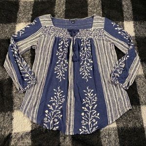 Lucky brand cotton ls boho top md